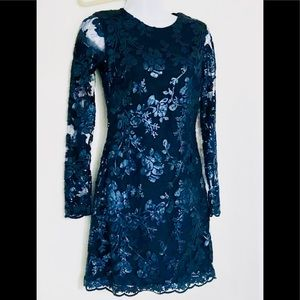 Dress The Population GRACE NAVY LACE  Dress XS